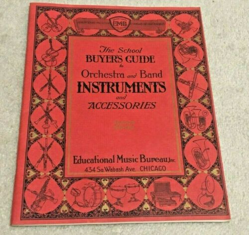 1930 Vintage Musical Orchestra, Band Instrument & Accessories Catalog at Schools