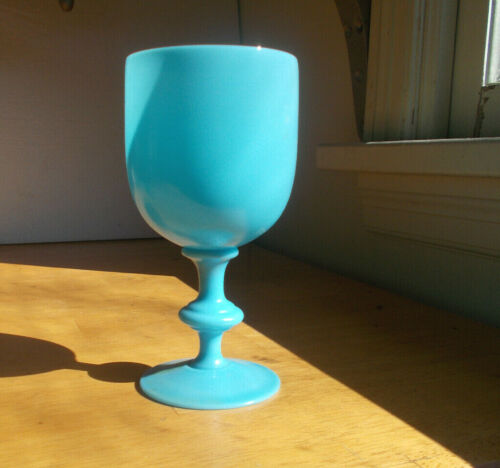 """BLUE OPALINE PORTIEUX VALLERYSTHAL GLASS WINE GOBLET 6 1/2""""TALL SHINY MINT"""