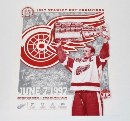 DETROIT RED WINGS 1997 STANLEY CUP CHAMPIONS POSTER SGA STEVE YZERMAN 11x14