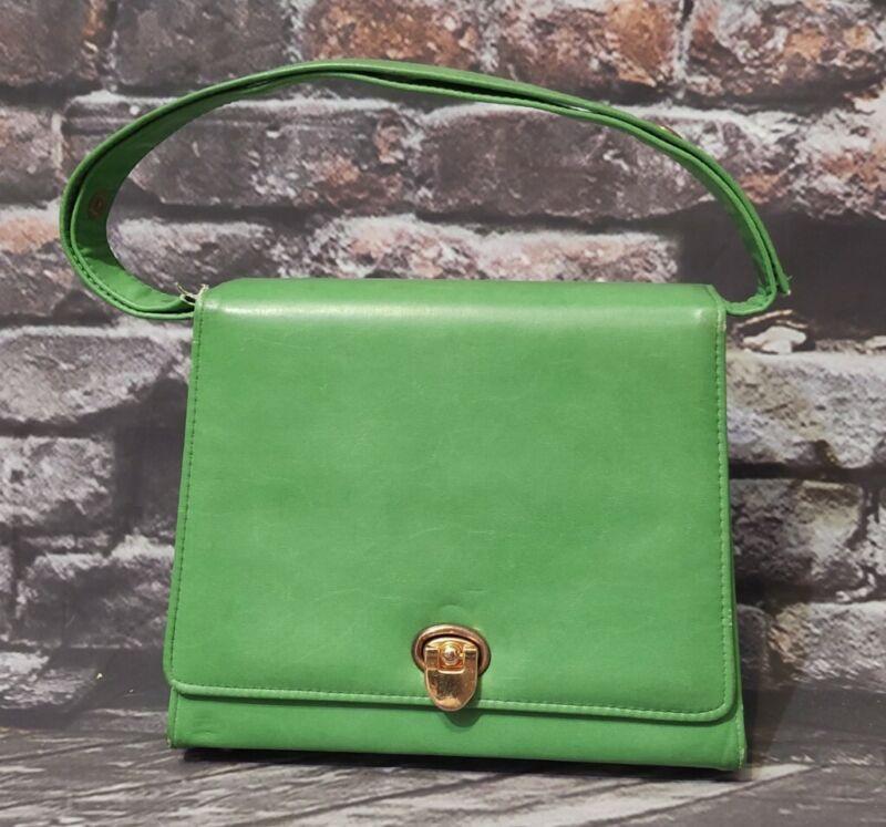 VINTAGE MOD 1950-60s LIFE STRIDE  GREEN LEATHER PURSE HANDBAG SHOULDER BAG