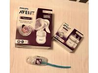 Brand New Philips Avent manual pump, bottles and brush