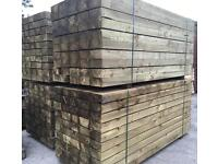 """🌳Tanalised Wooden 8""""X 4""""X 8Ft Sleepers •New•"""
