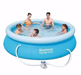 Bestway 10ft x 30in Fast Set Swimming Pool with Filter Pump #57109. Brand new in unopened box