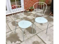 PAIR OF METAL PATIO CHAIRS, DOVE GREY, SHABBY CHIC, STACKABLE, FLOWER MOTIF, OUTDOOR TABLE SEATING
