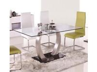 Glass dining table x 6 chairs