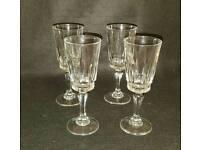 4 cut glass wine/ sherry glasses