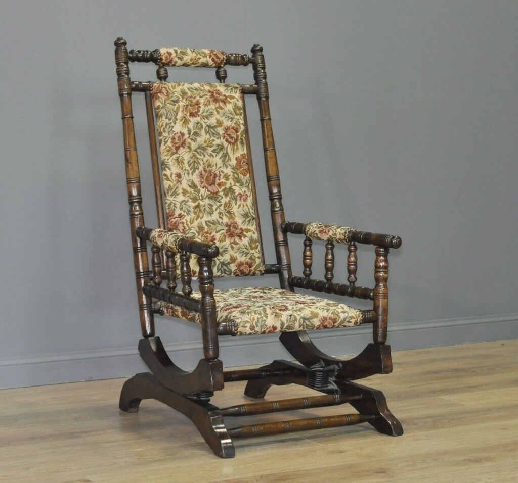 Attractive Antique Victorian Walnut Rocking Chair Armchair, Recently  Upholstered - Attractive Antique Victorian Walnut Rocking Chair Armchair, Recently