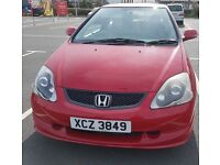 Great condition, just passed MOT. 2004 Milano Red HONDA CIVIC SPORT TYPE S 1.6 I-VTEC