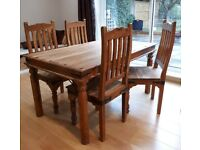 Rustic dining table and four chairs