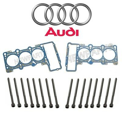 For Audi A4 A5 Quattro A6 Q5 Set of Left Right Head Gaskets 16 Bolts Kit Genuine