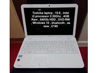 Toshiba Satellite 15.6-inch laptop Notebook i3