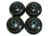 4 Black Almark Indoor bowls Size 4 Heavy BIBC K 99 Good Condition