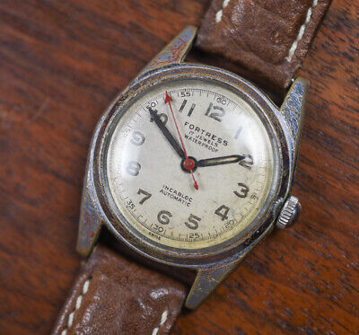 Vintage FORTRESS Automatic Incabloc Automatic Military Style Men's Watch Leather