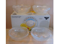 8x vintage RAVENHEAD Flair 24% lead crystal glass fruit grapefruit dessert dishes in original boxes