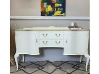Lucia. Bespoke beautiful white sideboard/ dresser with gold detail. Free local delivery.