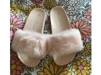 Slip on fluffy shoes slippers size 3 brand new