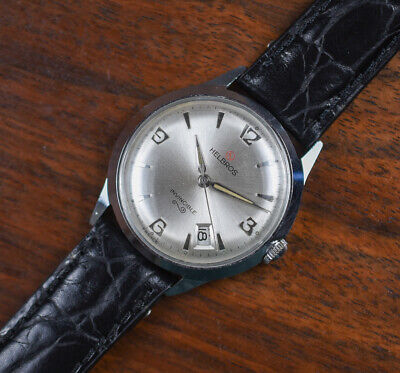 Vintage HELBROS Invincible Manual Wind Date Men's Watch Leather Band