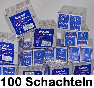 100x Streichholzschachtel Riesa Zündhölzer - 3800 Stück Streichhölzer Notvorrat