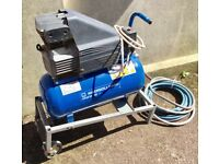 240v INGERSOLL RAND AIR COMPRESSOR, TROLLEY EURO 10, AIR LINE, FULL ACCESSORY KIT SPRAY GUN AIR GUN