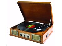 Steepletone USB Norwich Retro Record Player with Radio and MP3 Playback - Lightwood (unwanted gift)