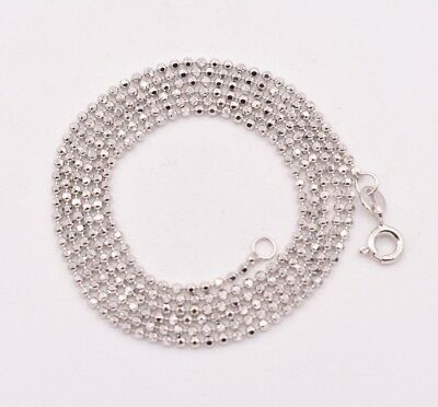1.4mm Round Diamond Cut Bead Ball Chain Necklace Real Solid 10K White Gold Gold Diamond Cut Bead Chain