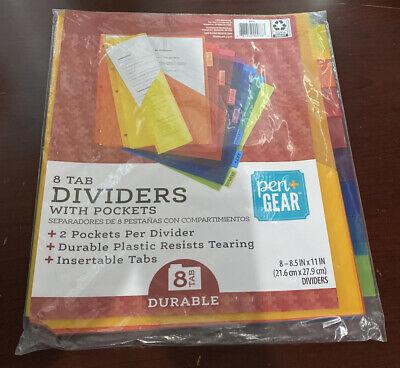 Pen Gear 8 Tab Dividers With Pockets 2 Pockets Per Divider Insertable Tabs