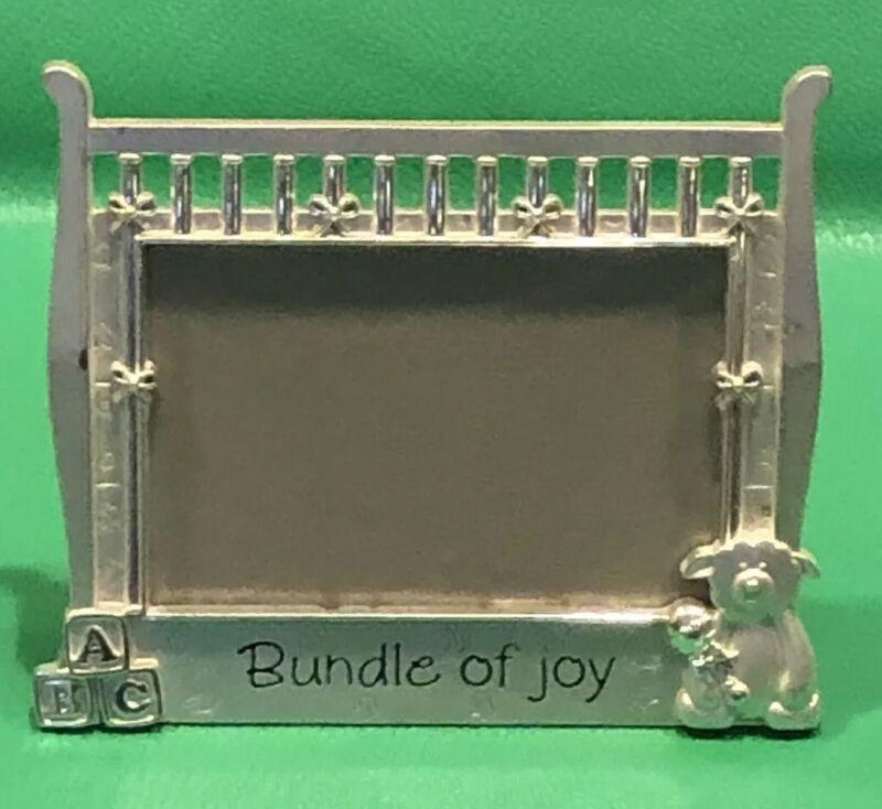 "Baby Crib Picture Frame Silver Bundle of Joy Malden Int'l Designs 3.5""x5"" Metal"