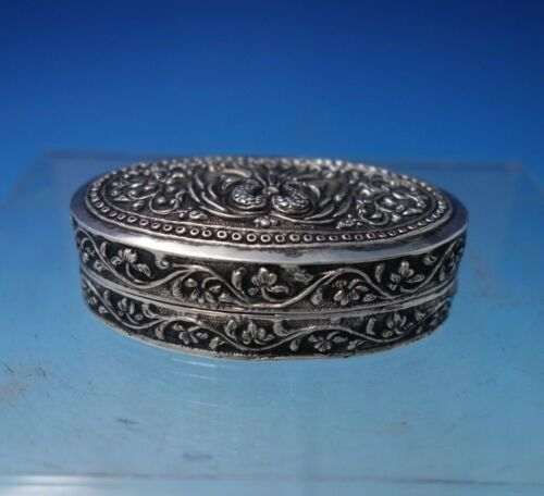 """Sterling Silver European Pill Box with Peacock Motif 2 1/2"""" x 1 1/2"""" (#5383)"""