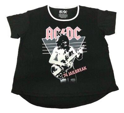 Plus Size Rock (Juniors Plus Size AC/DC '74 Jail Break Rock Star Tee Vintage Retro T-shirt)