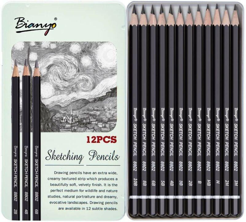 Bianyo Sketch Pencil Drawing Pencils Art Pencils Drawing Kit 12-Pieces