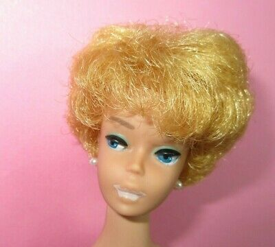 Vintage Barbie Doll BUBBLE CUT Blonde Early First Issue Green Eyeliner - Rare