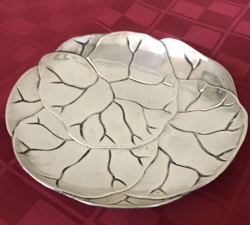 """Tiffany & Co Sterling Silver Makers 25225 Lettuce Plate Cabbage Leaf Dish 6"""""""