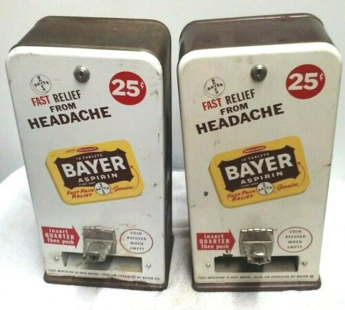 2- VINTAGE 1954 BAYER ASPIRIN PAIN MEDICINE VENDING MACHINE MAN CAVE COLLECTIBLE