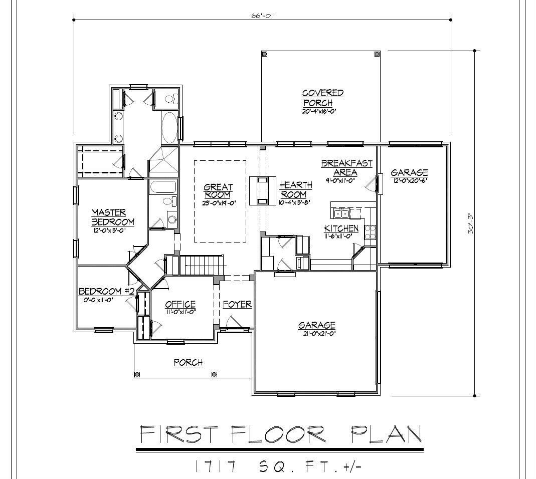 1717sf Ranch House Plan W Garage On Basement