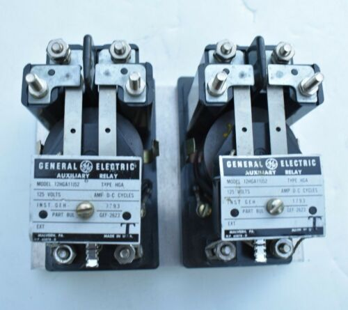 1 PAIR GE GENERAL ELECTRIC 12HGA11J52 AUXILIARY RELAYS 120V MADE IN USA!