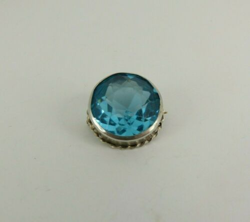 Sterling Silver Charles Horner Brooch Blue Stone Antique Chester 1914