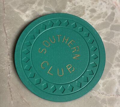 Southern Club Hot Springs Arkansas Illegal Casino Gambling Chip Green $5 Rare