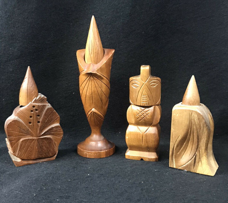 Collection of 4 Vintage Hawaiian Wood Perfumes 3 John A Oya & Co. 1 Paul Summers