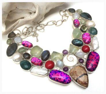 New Handmade Huge Gemstone Crystal Sterling Silver Necklace RRP $1000 North Melbourne Melbourne City Preview