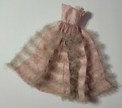 BARBIE DOLL CLOTHES VINTAGE RETRO MOD LIGHT DUSTY ROSE PINK GOWN DRESS FORMAL