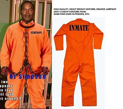 OJ SIMPSON Orange Inmate JUMPSUIT OUTFIT Prison Jail Halloween ...