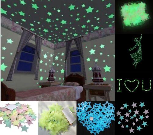 100pcs 3D Stelle Brillano Al Buio Luminoso Fluorescente Adesivi Da Parete