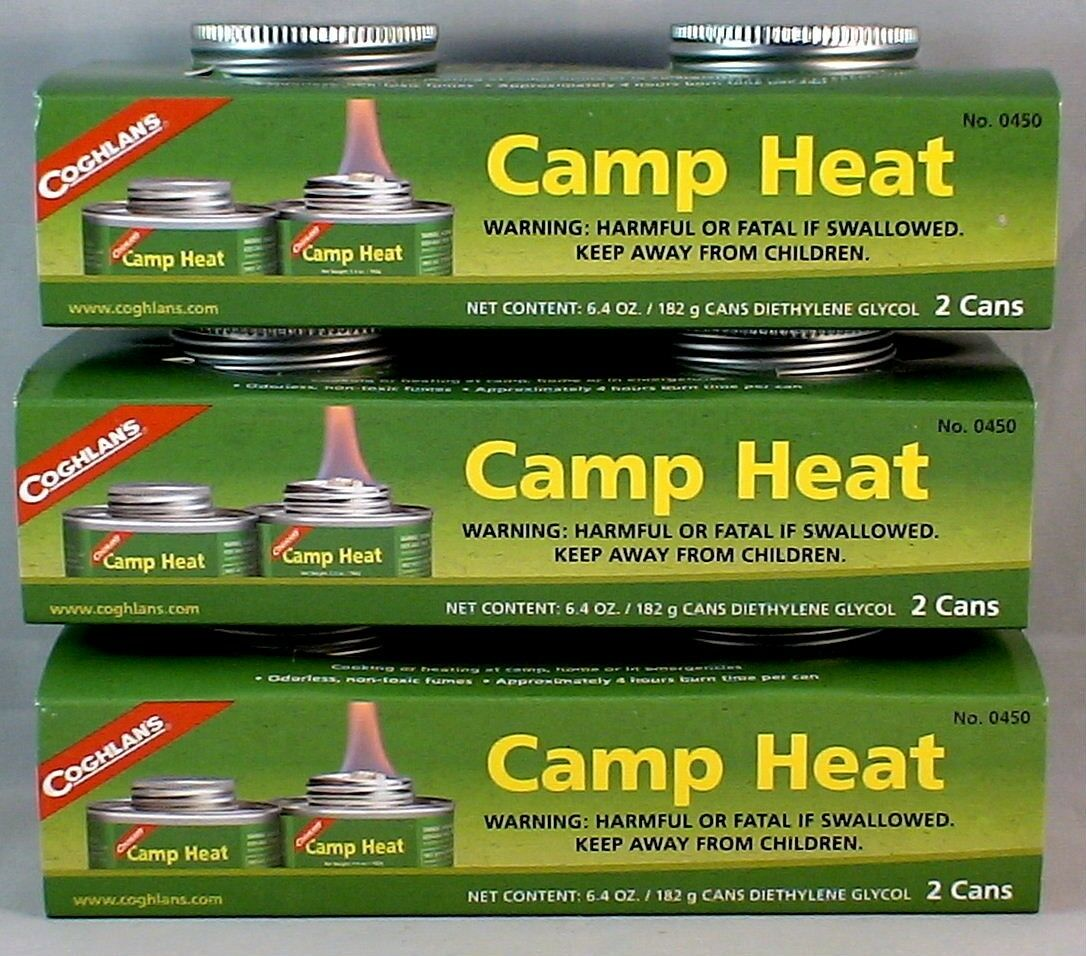 6 CANS CAMP HEAT, STERNO TYPE EMERGENCY STOVE FUEL 4-6 HR BU