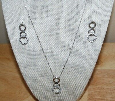 .925 Sterling Silver 3 Circle Pendant Necklace with Matching Earrings