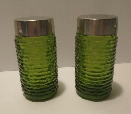 Anchor Hocking Soreno Avocada Green Salt and Pepper Shakers 1960-1970