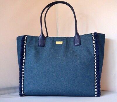 AUTH $378 NWT KATE SPADE Bay Morelia Place Blue Denim Tote Shoulder Bag NEW