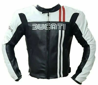 DUCATI  MOTORBIKE LEATHER JACKET CE APPROVED FULL PROTECTION