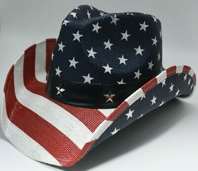 Red White And Blue Cowboy Hat (American Flag Cowboy Hat Shapeable Brim Blue Red White Classic USA)