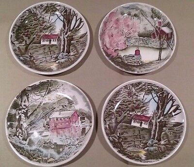Vtg Johnson Bros England The Friendly Village Set 4 Coasters Side Plate Unused