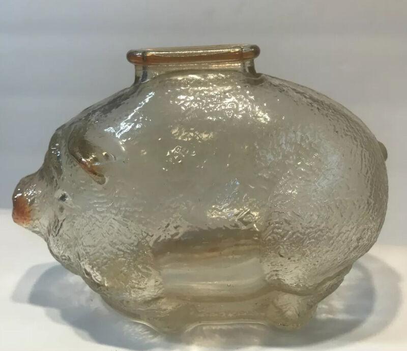 """Vintage Depression Amber Glass Piggy Bank 5"""" Long"""